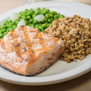 Salmon, Peas and Onions, and Roasted Grains